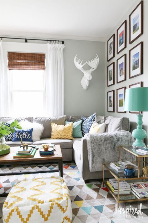 Living Room style with color and comfort. Plus an organized gallery wall.