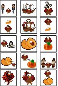 Free Thanksgiving Spatial Concepts w/Cariboo cards - These are Spatial Concept flash cards, worksheets and small cards to use with the game Cariboo.