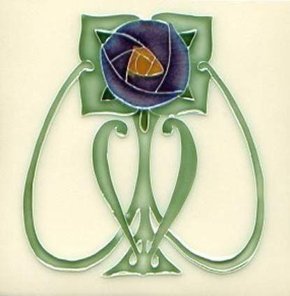 Art Tile, Art Nouveau Flower, Dark Blue, Gold, and Green on Cream