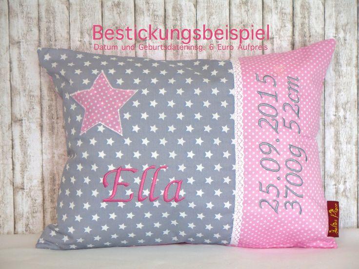 """Namenskissen - Namenskissen Taufe """"Kleiner Stern""""rosa inkl.1.Name - ein Designerstück von Julies-Place bei DaWanda"""