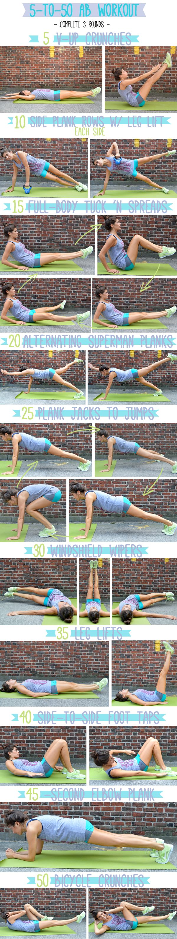 5-to-50 Ab Workout. Do three rounds; you just need a weight and exercise mat!