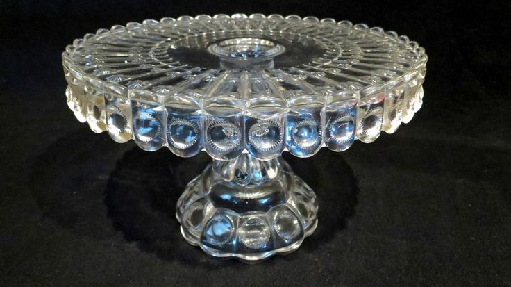 "EAPG Crystal Priscilla 10"" Cake Stand Dalzell Gilmore & Leighton 1880's"