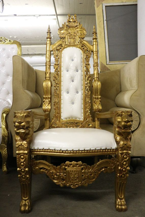 """Beautiful 72"""" Tall Gothic Carved Mohagany Wood Lion King Throne Chair White Vinyl - Gold Finish"""