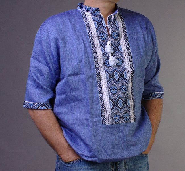 Mens Ethical Shirts – Embroidered Blue Shirt VYSHYVANKA short sleeve XL – a…