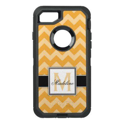 Orange Chevron Monogram Mobile OtterBox Defender iPhone 8/7 Case - girly gifts special unique gift idea custom