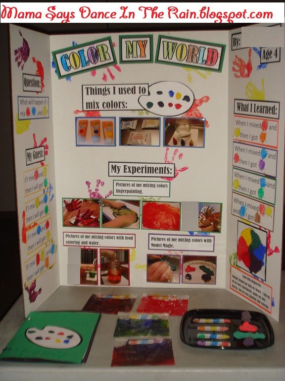 preschool science fair  mixing primary colors