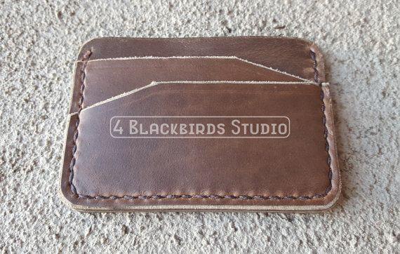 Leather Minimalist Wallet  Horween Portsmouth by 4BlackbirdsStudio