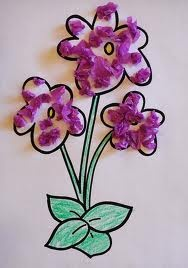 Awful purty!  So easy for little hands to color,then glue bits of color to the flower - it can be whatever they choose! Maybe add a poem on an extra piece of construction paper and turn it into a Mother's Day Card...? :-) Tissue Paper Violets