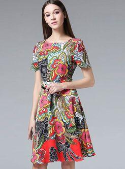 Ethnic Floral Print Tight Waist A-Line Dress