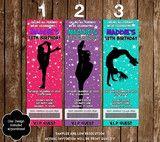 Novel Concept Designs - Cheerleading - Cheer Team Birthday Party Ticket Invitations (3 Designs