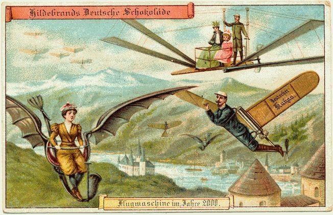 En 1900, des cartes postales imaginent l'an 2000: machines volantes personnelles.