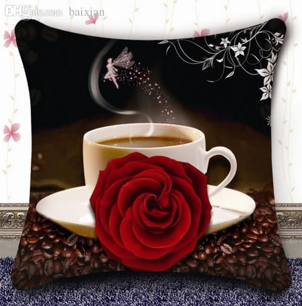 Wholesale-FBH030509 New 3 d cross-stitch pillow coffee rose sitting room sofa pillows cushion for leaning on