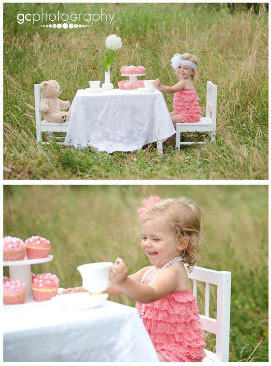 Love this little table for tea party pics! Such a cute birthday | http://amazingbirthdayideas.blogspot.com