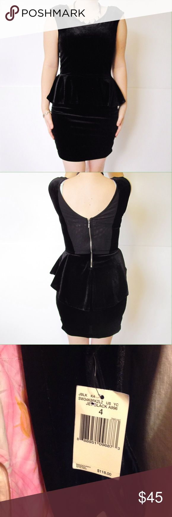 Guess black peplum black dress sz 4 Guess dress sz 4. Peplum style. Looks like velvet. Stretchy. New Guess Dresses Mini