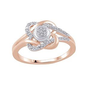1/10 Ct White Natural Diamond Double Loop Heart Promise Ring 10K Rose Gold # With Free Stud Earring by JewelryHub on Opensky