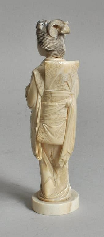 Exceptional japanese carved ivory geisha figure circa