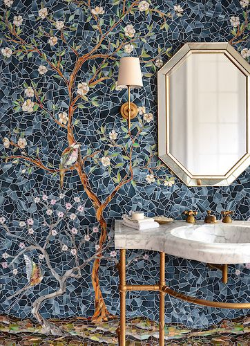 Chinoiserie, a handmade mosaic shown in Emerald, Tourmaline, Labradorite, Opal, Tiger's Eye, Amber, Peridot, Champagne, Rose Quartz, and Pearl jewel glass with Marcasite Sea Glass™ is part of the Sea Glass™ Collection by Sara Baldwin for New Ravenna