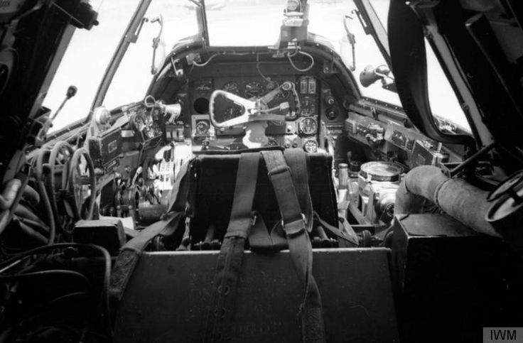 The cockpit of a Bristol Beaufighter Mark VIF of No. 89 Squadron RAF, viewed from behind the pilot's seat. Photograph taken at Castel Benito, Libya.