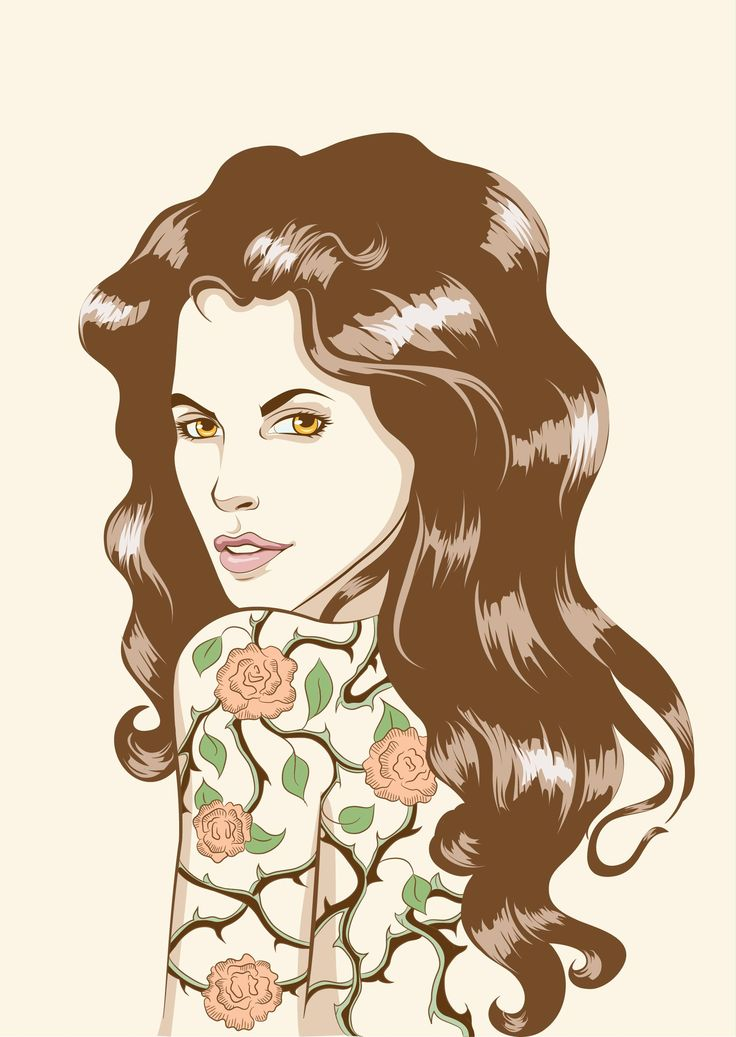 Vector portrait of beautiful girl with roses tattoo