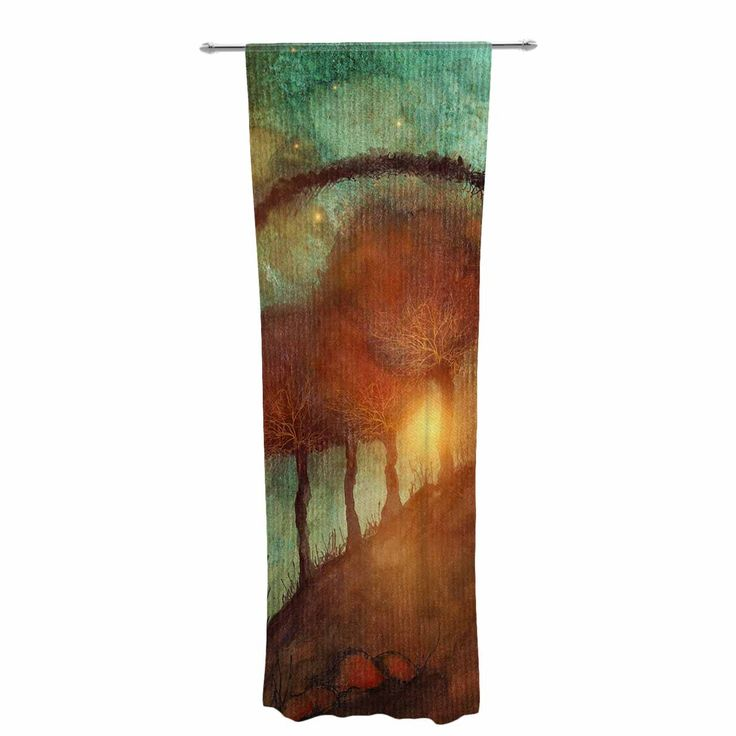 "Viviana Gonzalez ""Track 28: Sunset And Dreams II"" Green Orange Decorative Sheer Curtain"