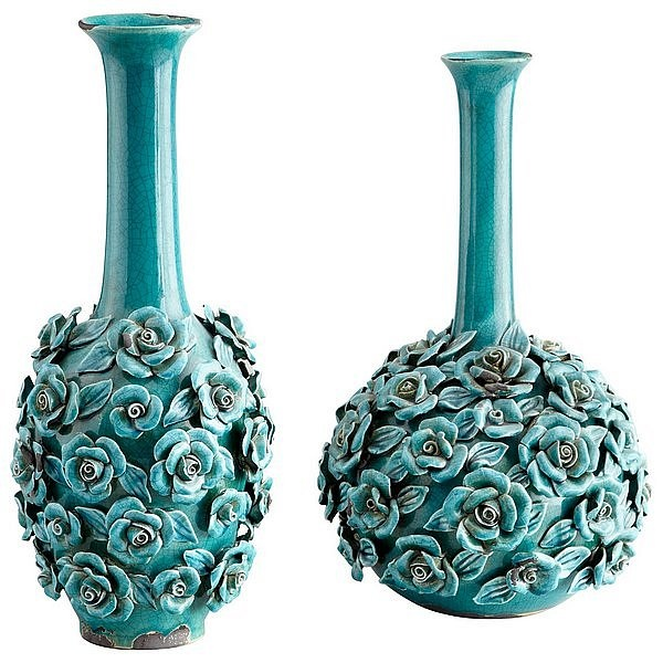 cyan tall and stout blue nile rose vases