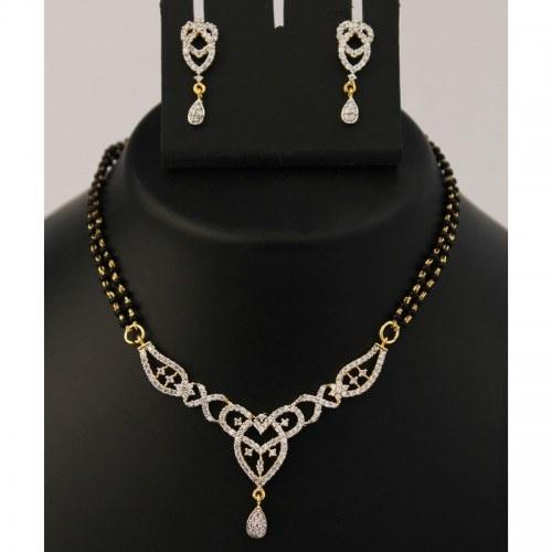 American Diamond Mangalsutra Necklace Set