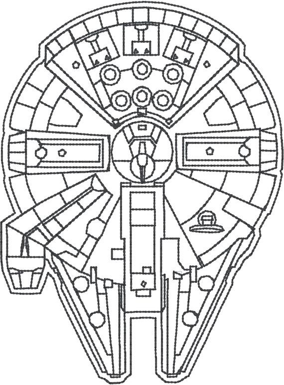 Millenium Falcon 4x4 Machine Embroidery Design Star Wars