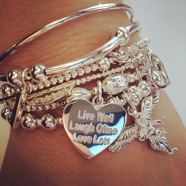 Sama My Guardian Angel bracelet with added bangles