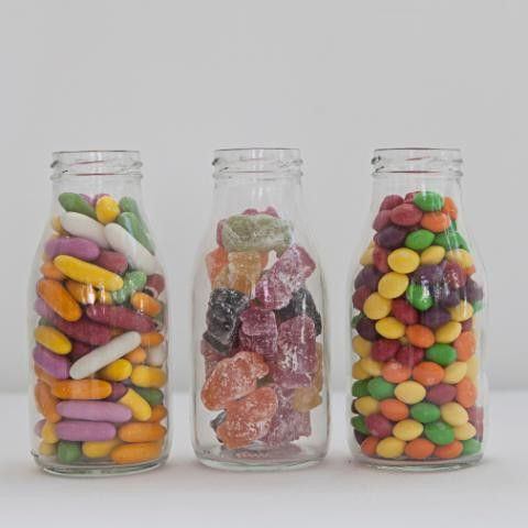 Mini milk bottles filled with sweets