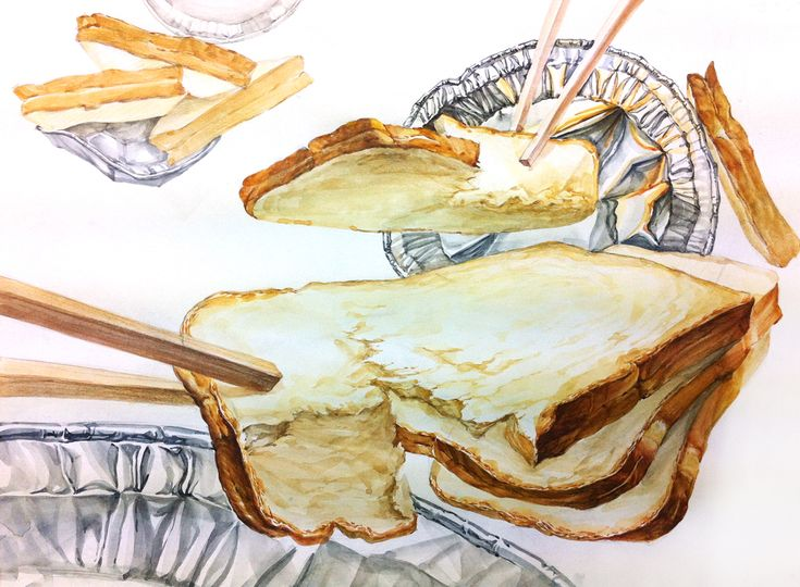 주제부 크기, 식빵과 은박접시의 질감 표현, 나무젓가락으로 집는 듯한 연출, 흐름 식빵의 지루한 시점, 식빵의 축의 변화, 식빵이 꺾이는 모습이 직각으로 부자연 스러움-곡선이 좋을 듯