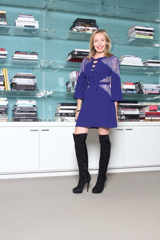 """Thursday, October 15 """"Add vivid color to your fall wardrobe with this striking dress with delicate lace inserts and striking lace-up front detail."""" -Lubov Azria Get Lubov's look: http://bit.ly/1Pw6eC9"""