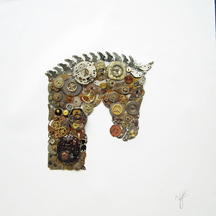 Horse's head picture made from old watch parts