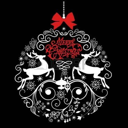 Черно-белые иллюстрации Рождественский бал. photo