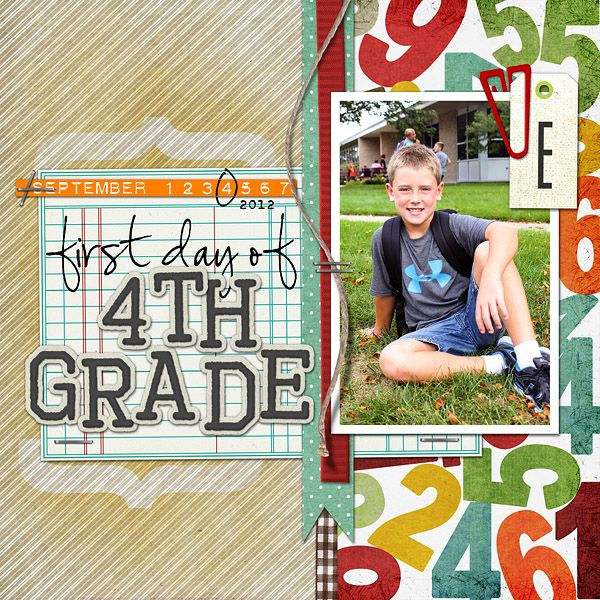 First Day of Fourth Grade digital scrapbook layout page by Chanell Rigterink