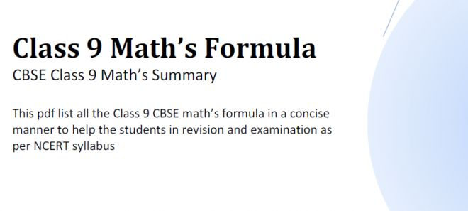 Download Maths Formula pdf Class 9 CBSE