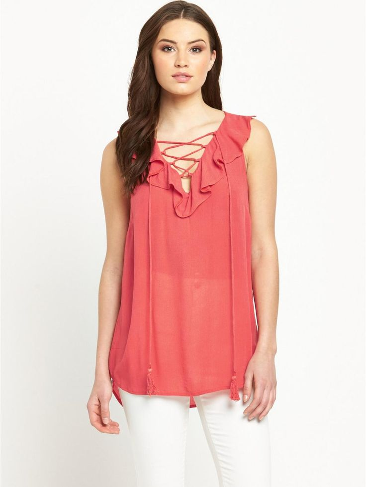 V by Very Frill Front Lace Up Blouse , http://www.littlewoodsireland.ie/v-by-very-frill-front-lace-up-blousenbsp/1600062031.prd
