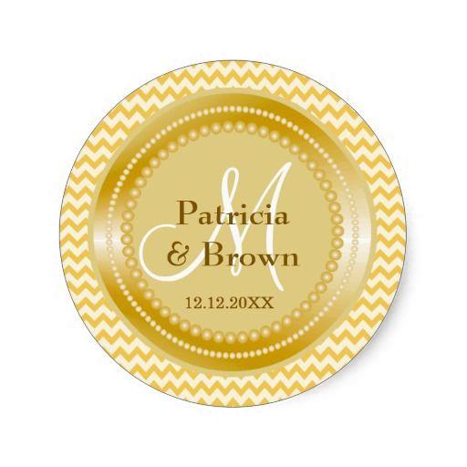 Glitter gold yellow zig zag chevron monogram classic round sticker