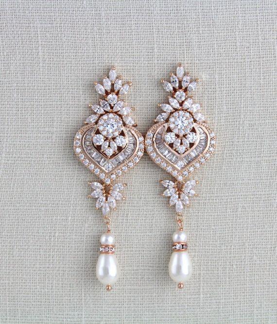 Rose Gold Braut Kronleuchter Hochzeit Ohrringe Brautschmuck Swarovski Ohrringe lange Ohrringe Statement Ohrringe EMMA