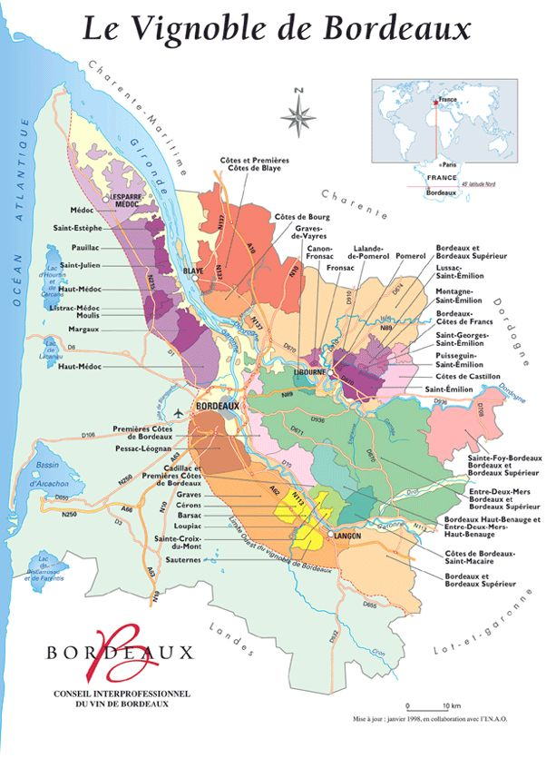 Carte du vin de Bordeaux
