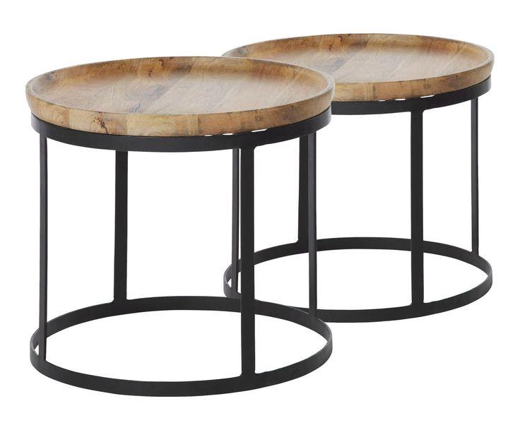 Set van 2 salontafels Pablo, naturel/zwart | Westwing Home & Living
