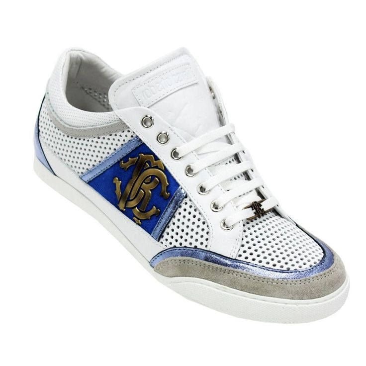 These stylish men's fashion shoes from Roberto Cavalli are made from leather and suede for a durable construction. White panels and blue logos on the side make these Italian designed shoes... More Details