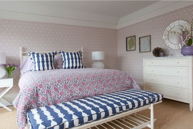 Nightingale Design: Pink and blue girls bedroom with Manuel Canovas Trellis Wallpaper in Pink framing white ...