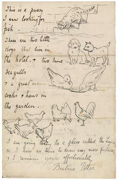 An original Letter by Beatrix Potter A poem about animals