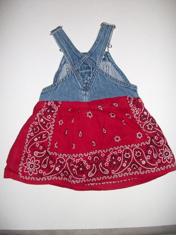Children's Upcycled Bandana Overall Dress Size by karengarnett, $18.50