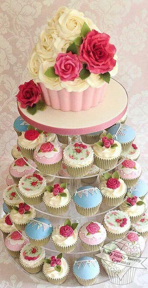 Beautiful cath kidson ensured wedding cupcake tower
