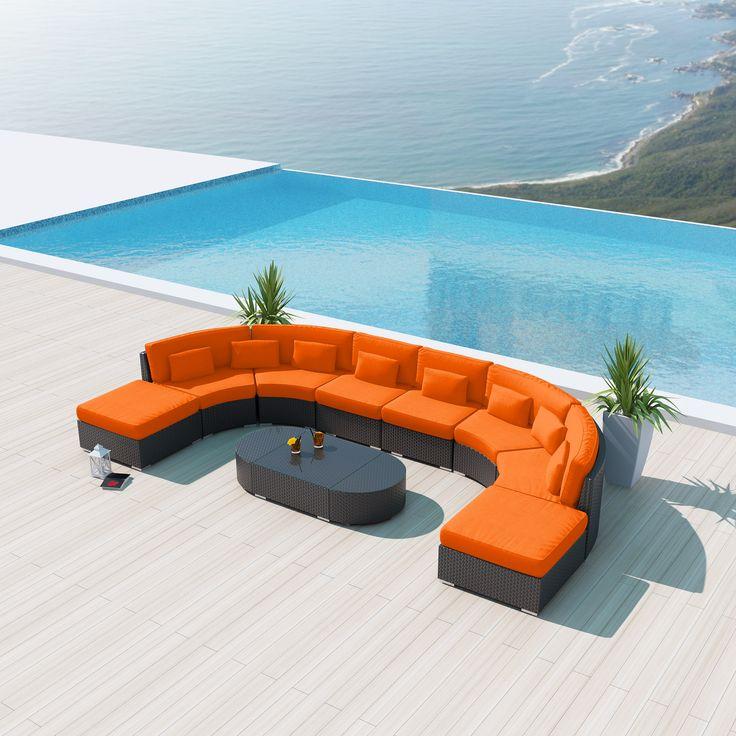 Sofas :: Round Outdoor Sets :: Uduka Vienna 9 pcs Outdoor Sectional Round Patio Sofa Set -