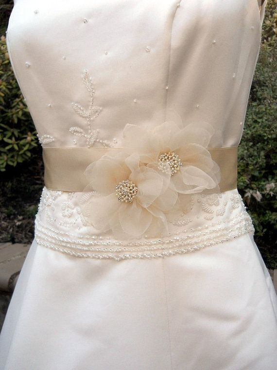 Wedding Dress Sash Organza Flowers in Champagne for by PucoBesh, $49.00