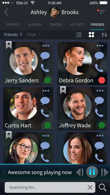 Beautiful friends (contacts) screen for a music app. Visit our site for more awesome UI designs!
