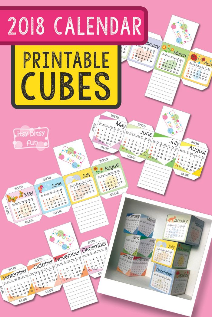 Printable 2018 Calendar Paper Cubes Itsy Bitsy Fun Paper cube