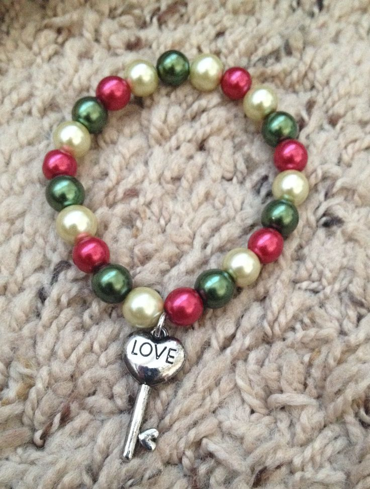 Pearl Charm Bracelet - #Heart #Love key #Charm